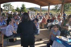Diane Taniguchi-Dennis explains the Fernhill water treatment facility