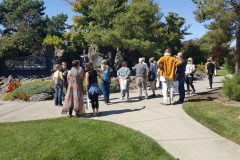 Touring the entry garden at Samaritan Health Sciences campus