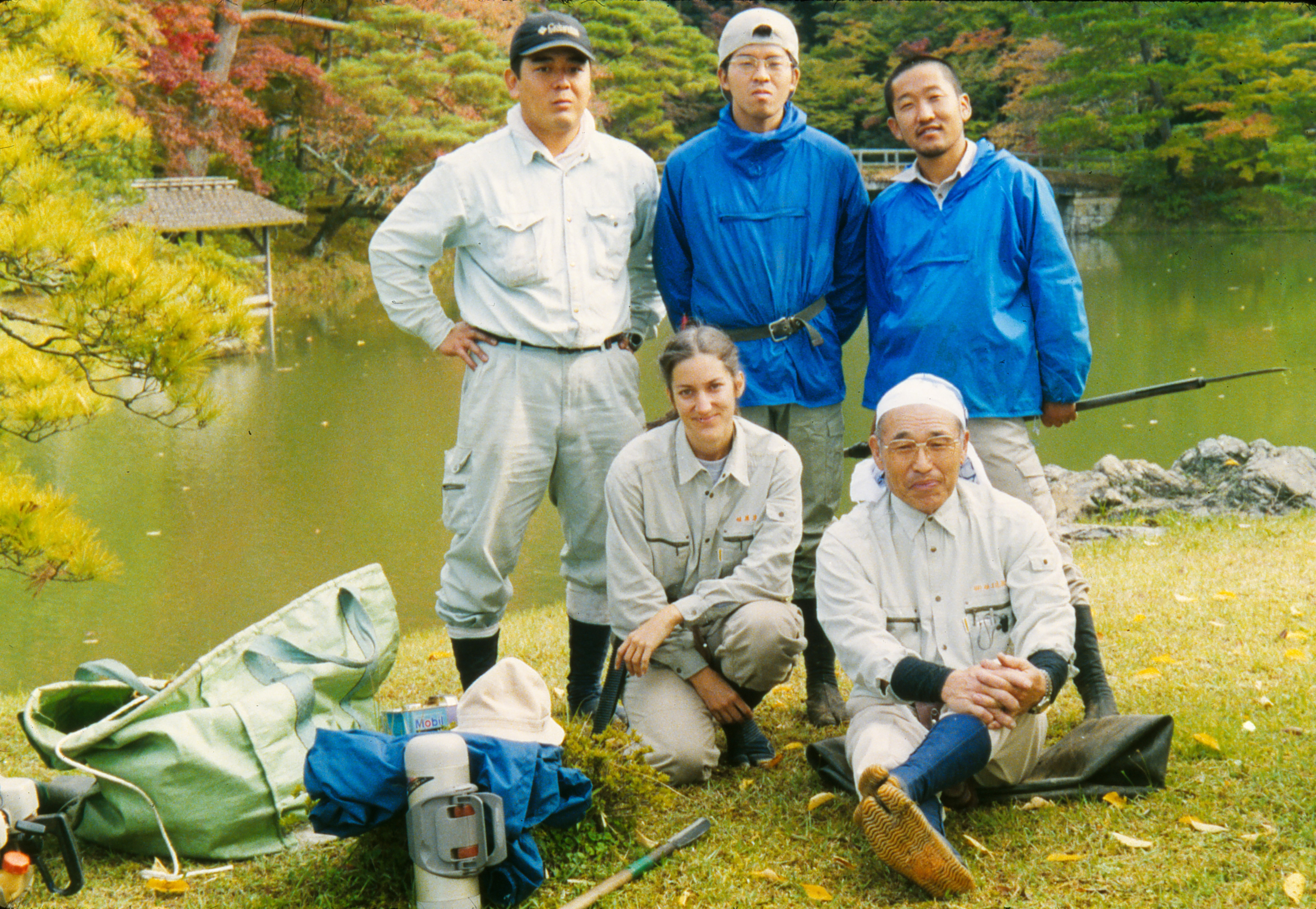 Leslie Buck with crew of Uetoh Zoen on a rare break from working at Shugaku-in Rikyu Imperial Villa